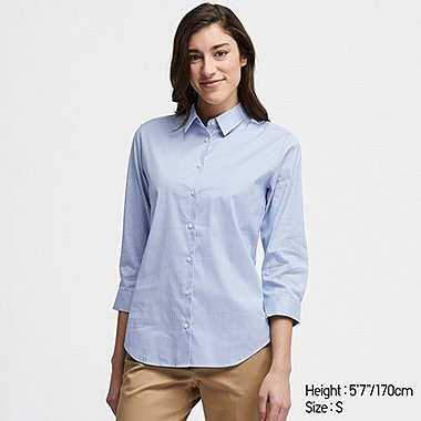 WOMEN SUPIMA® COTTON STRETCH STRIPED 3/4 SLEEVE SHIRT (ONLINE EXCLUSIVE), BLUE, medium