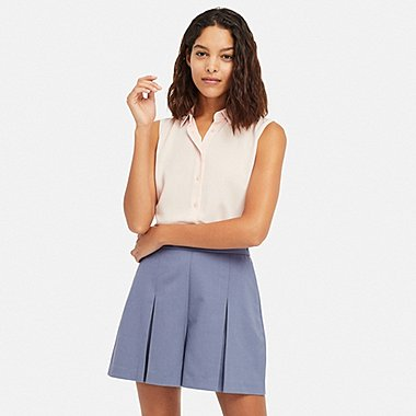 WOMEN TUCKED SHORTS (ONLINE EXCLUSIVE), BLUE, medium