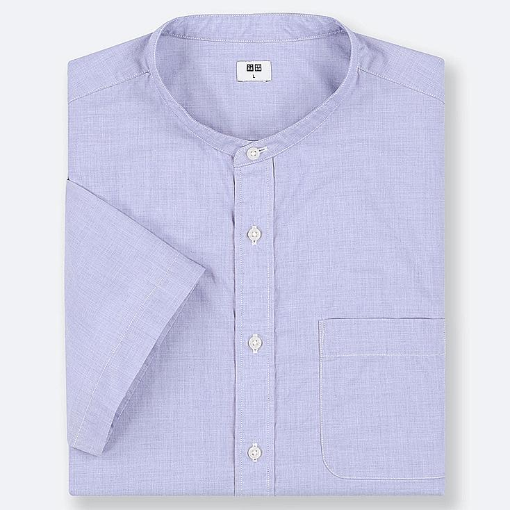 MEN EXTRA FINE COTTON STAND COLLAR SHORT-SLEEVE SHIRT (ONLINE EXCLUSIVE), BLUE, large