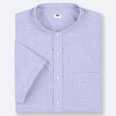MEN EXTRA FINE COTTON STAND COLLAR SHORT-SLEEVE SHIRT (ONLINE EXCLUSIVE), BLUE, medium