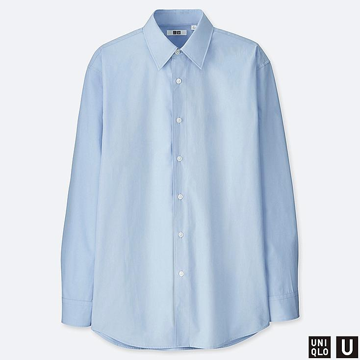 MEN U EXTRA FINE COTTON BROADCLOTH LONG-SLEEVE SHIRT, BLUE, large