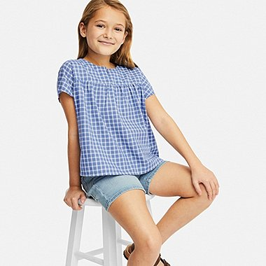 GIRLS CHECKED SHORT-SLEEVE BLOUSE, BLUE, medium