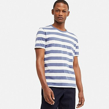 MEN SUPIMA® COTTON STRIPED SHORT-SLEEVE T-SHIRT, BLUE, medium