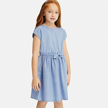 GIRLS CHAMBRAY SHORT-SLEEVE DRESS, BLUE, medium