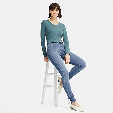 WOMEN ULTRA STRETCH DENIM LEGGINGS PANTS (EXTENDED LENGTH) (ONLINE EXCLUSIVE), BLUE, medium