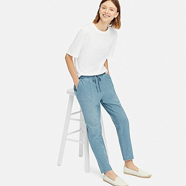 WOMEN DENIM JERSEY TAPERED PANTS, BLUE, medium