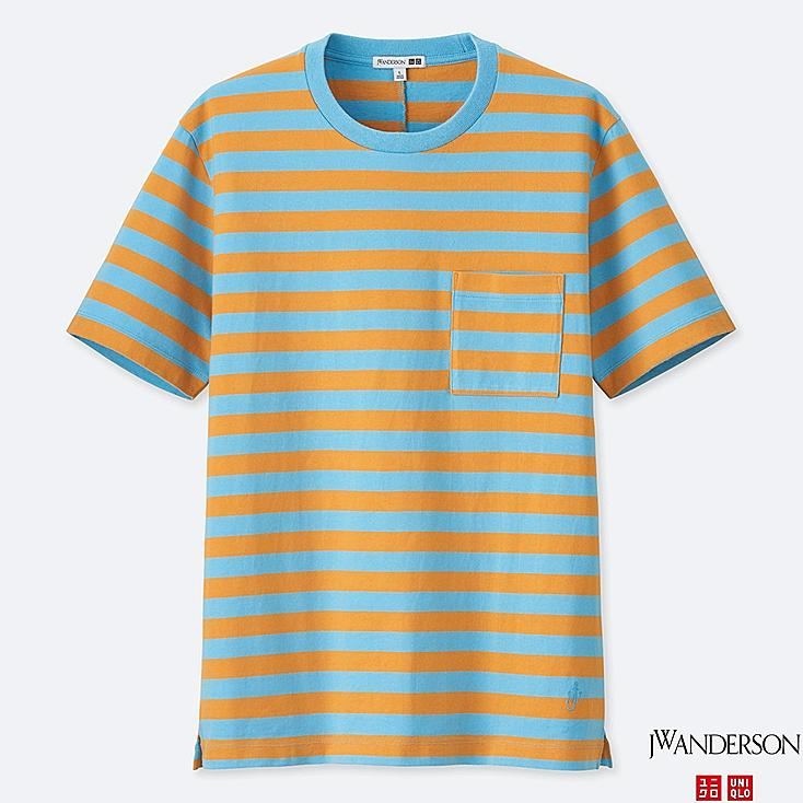 MEN ASYMMETRIC STRIPED SHORT-SLEEVE T-SHIRT (JW Anderson), BLUE, large
