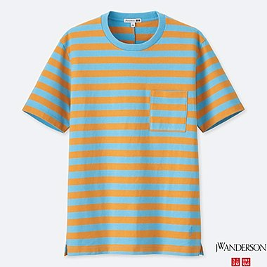MEN ASYMMETRIC STRIPED SHORT-SLEEVE T-SHIRT (JW Anderson), BLUE, medium