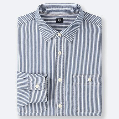 MEN HICKORY WORK LONG-SLEEVE SHIRT (ONLINE EXCLUSIVE), BLUE, medium