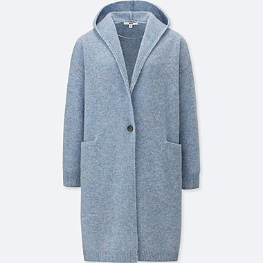 WOMEN WOOL HOODED KNITTED COAT, BLUE, medium