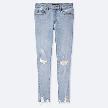 WOMEN DAMAGED ULTRA STRETCH JEANS (EXTENDED LENGTH) (ONLINE EXCLUSIVE), BLUE, medium