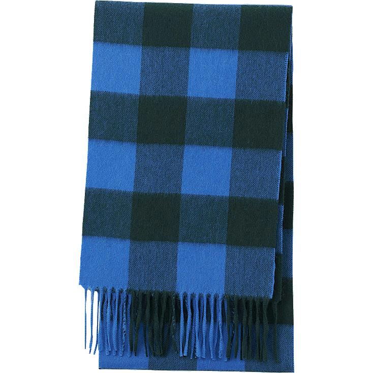 CASHMERE SCARF, BLUE, large