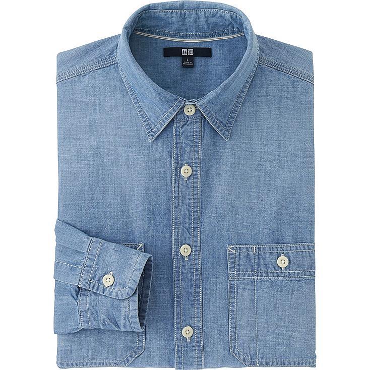 Chambray shirt, BLUE, large