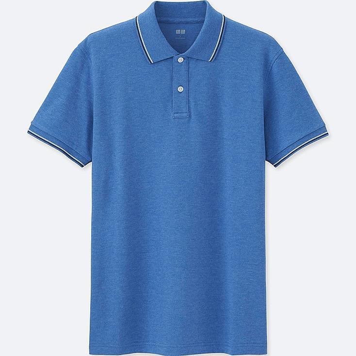 Men DRY PIQUE SPREAD COLLAR POLO SHIRT, BLUE, large