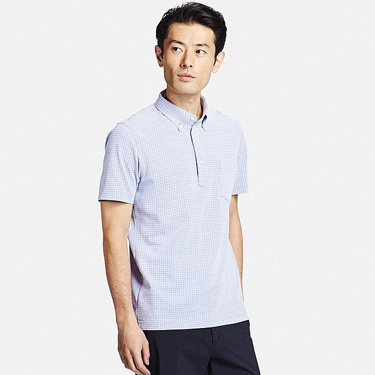 Men DRY COMFORT Button-Down Collar Polo Shirt, BLUE, large