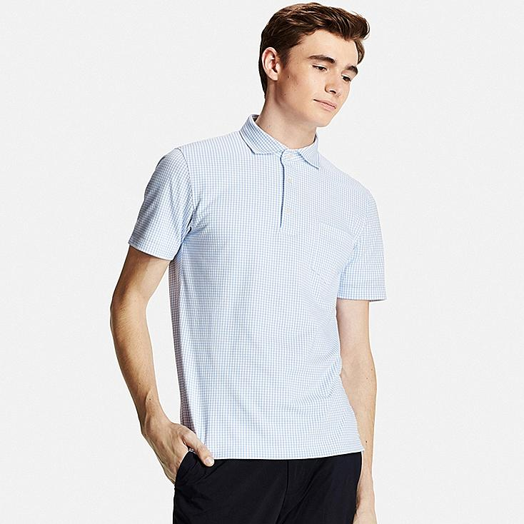 Men DRY Button-Down Collar Polo (Semi-Wide), BLUE, large