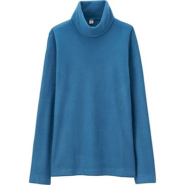 WOMEN HEATTECH FLEECE TURTLE NECK LONG SLEEVE T, BLUE, medium