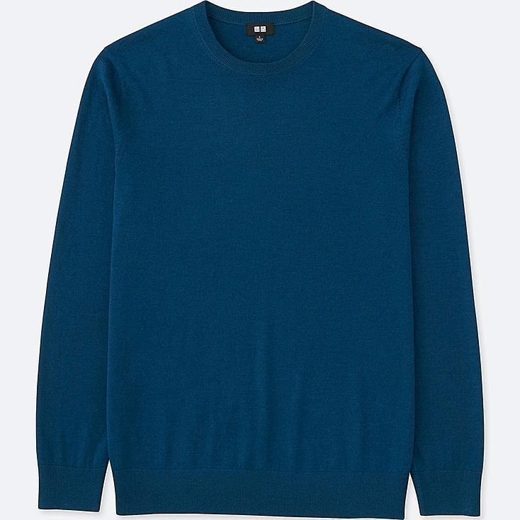 MEN EXTRA FINE MERINO CREWNECK SWEATER, BLUE, large