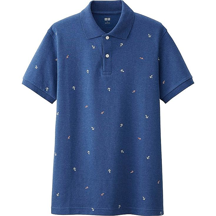 Men DRY PIQUE ANCHOR PRINT POLO SHIRT, BLUE, large