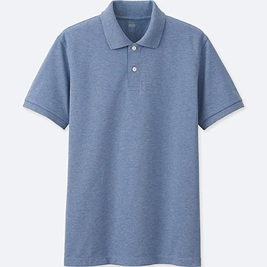 MEN DRY PIQUE SHORT SLEEVE POLO SHIRT, BLUE, medium