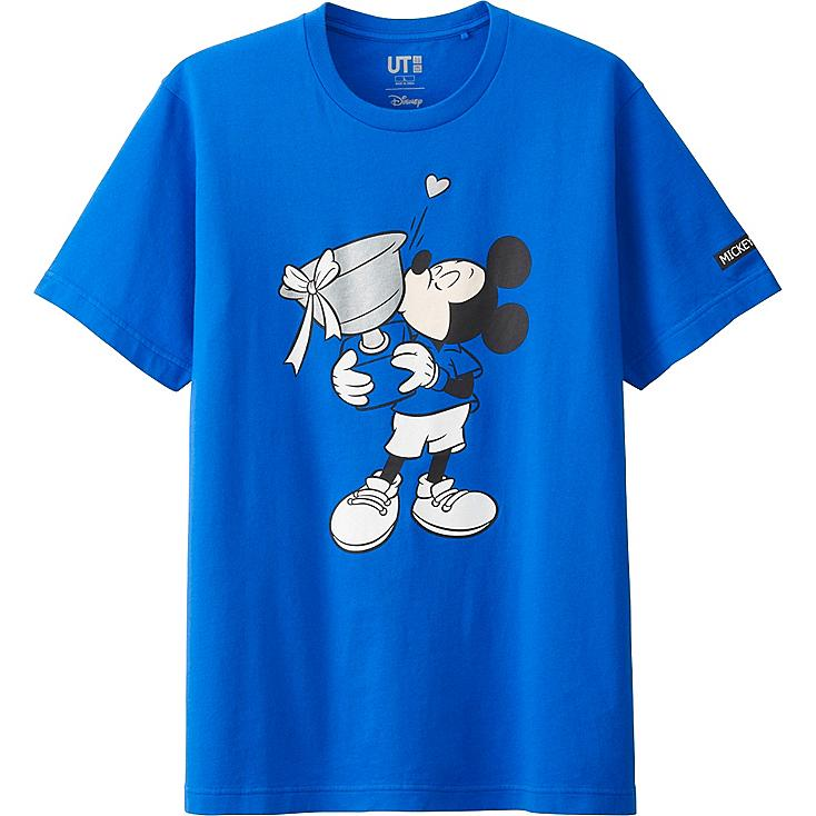 MEN MICKEY PLAYS SHORT SLEEVE GRAPHIC T-SHIRT, BLUE, large