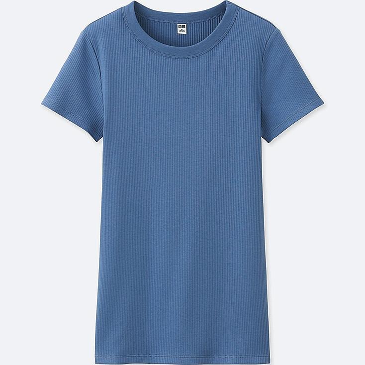 WOMEN Supima® COTTON RIBBED CREW NECK SHORT SLEEVE T-SHIRT, BLUE, large