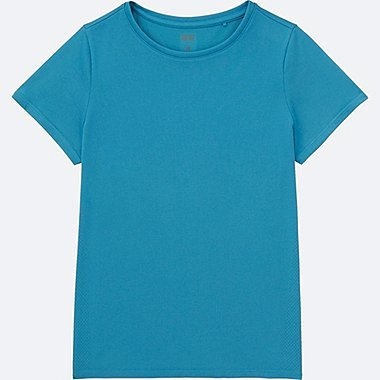 WOMEN DRY-EX CREWNECK SHORT-SLEEVE T-SHIRT, BLUE, medium