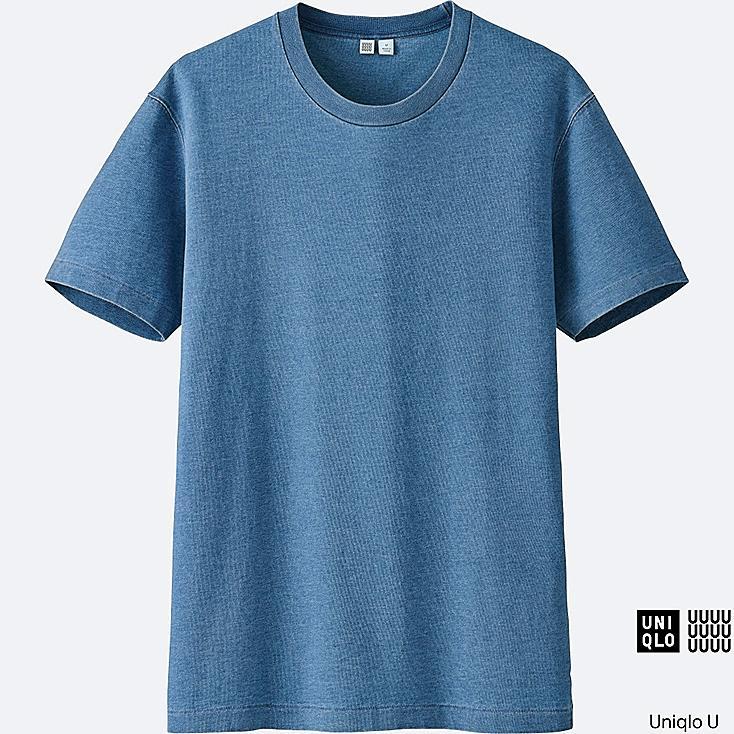 MEN U SHORT-SLEEVE INDIGO T-SHIRT, BLUE, large