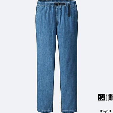 MEN U DENIM RELAXED PANTS, BLUE, medium