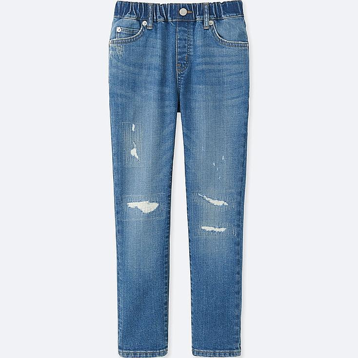 BOYS DENIM RELAXED SLIM-FIT PANTS, BLUE, large
