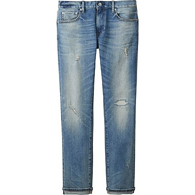 MEN SLIM-FIT DISTRESSED JEANS, BLUE, medium