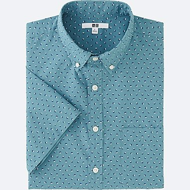 MEN BROADCLOTH PRINTED SHORT SLEEVE SHIRT, BLUE, medium