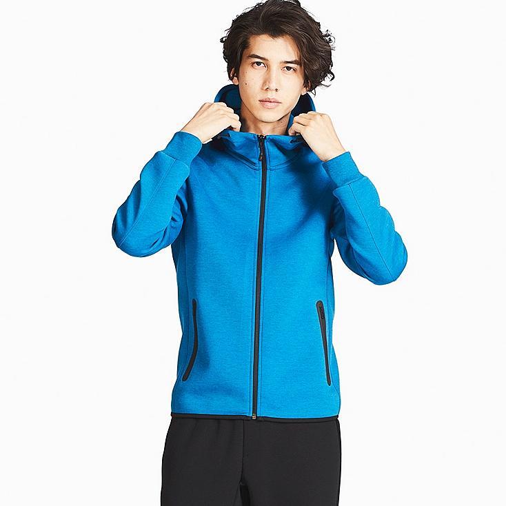 MEN DRY STRETCH SWEAT FULL-ZIP HOODIE, BLUE, large