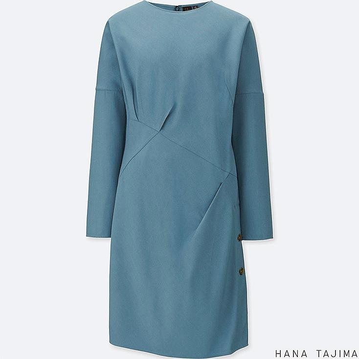 WOMEN TUCK LONG-SLEEVE TUNIC, BLUE, large