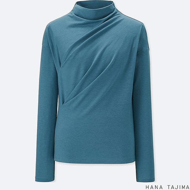 WOMEN BOTTLENECK LONG-SLEEVE T-SHIRT, BLUE, large