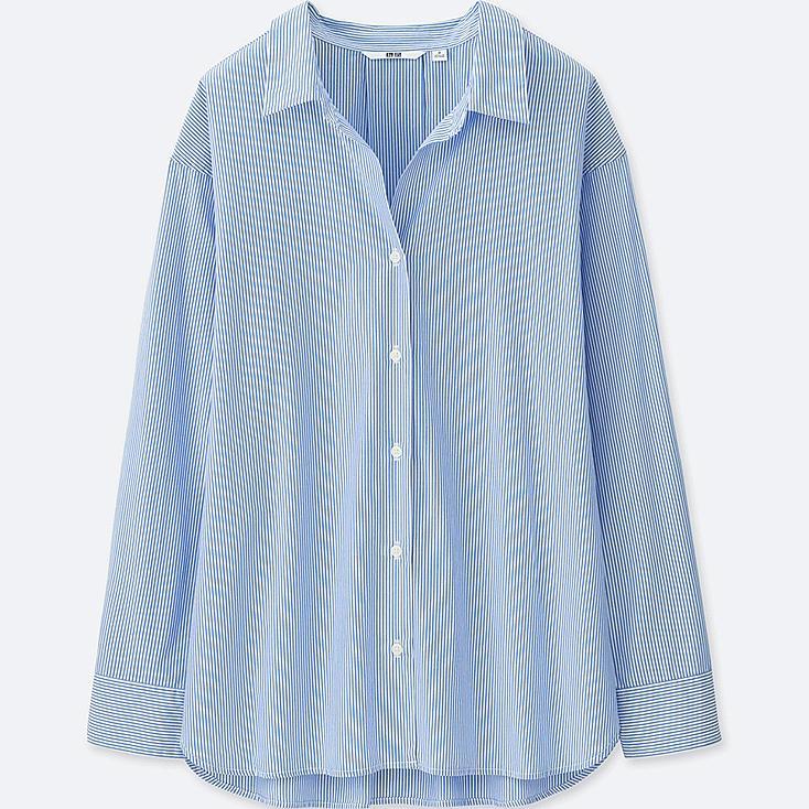 WOMEN EXTRA FINE COTTON STRIPED LONG-SLEEVE SHIRT, BLUE, large