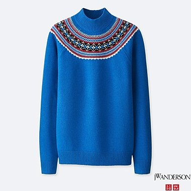 MEN JWA FAIR ISLE MOCK NECK LONG-SLEEVE SWEATER, BLUE, medium
