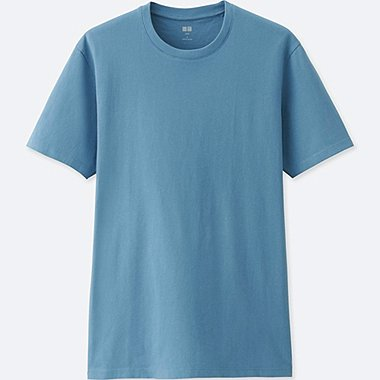 MEN SUPIMA® COTTON CREW NECK SHORT-SLEEVE T-SHIRT, BLUE, medium