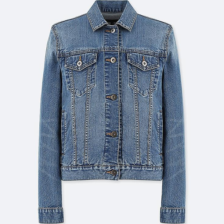 WOMEN DENIM JACKET, BLUE, large