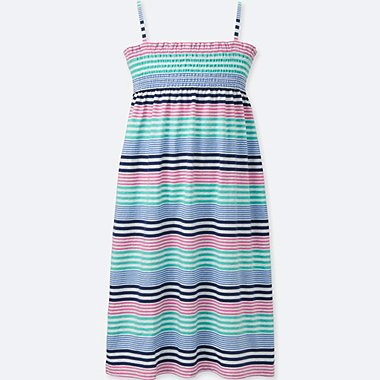 GIRLS STRIPED CAMISOLE DRESS, BLUE, medium