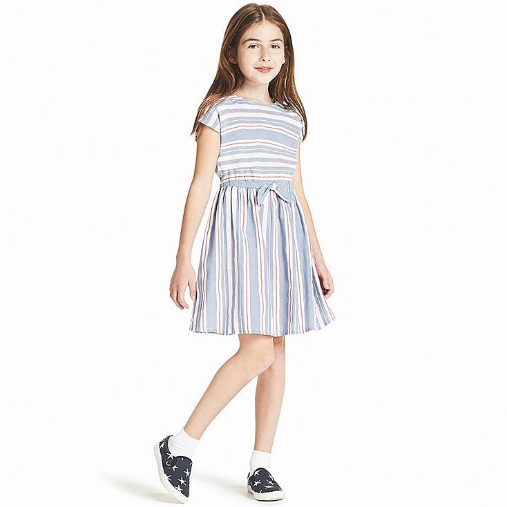 GIRLS STRIPE DRESS SHORT-SLEEVE DRESS | Tuggl