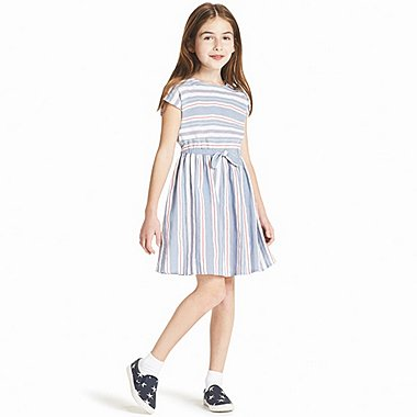 GIRLS STRIPE DRESS SHORT-SLEEVE DRESS, BLUE, medium
