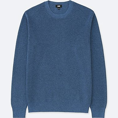 MEN COTTON CASHMERE CREW NECK LONG SLEEVE SWEATER