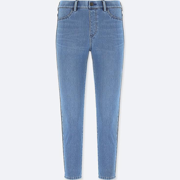 WOMEN DENIM CROPPED LEGGINGS PANTS, BLUE, large