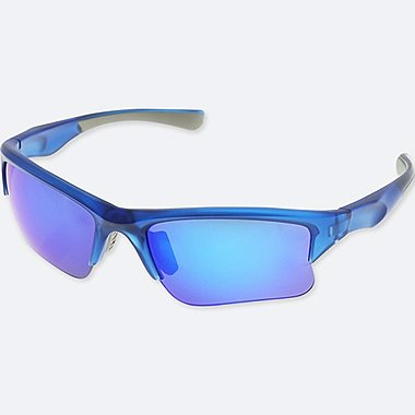 HALF RIM SUNGLASSES, BLUE, medium