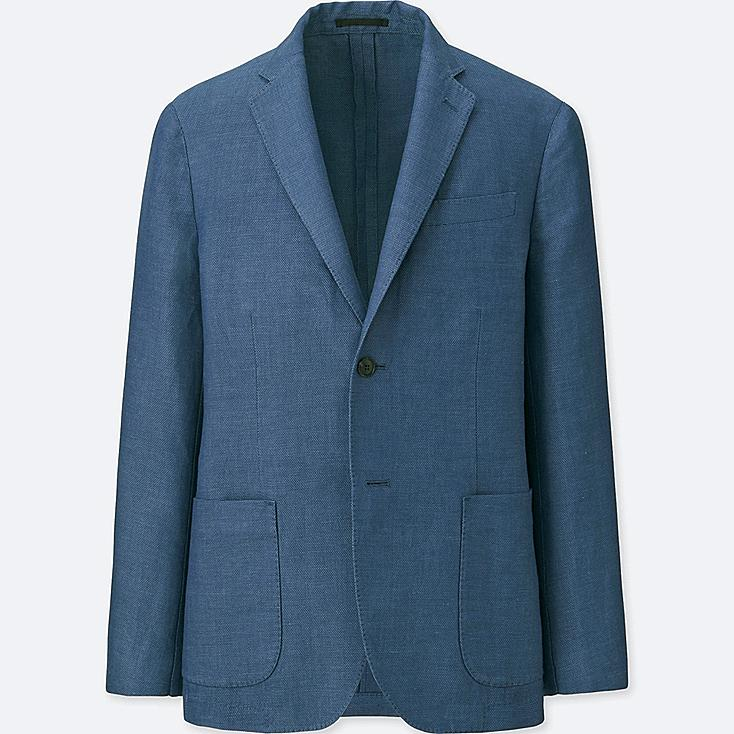 Men Linen Cotton Slim Fit Jacket by Uniqlo
