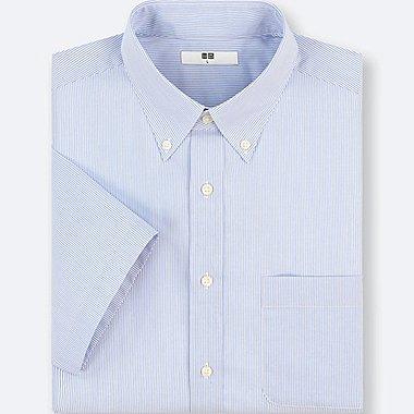 MEN DRY EASY CARE STRIPED SHORT-SLEEVE SHIRT(ONLINE EXCLUSIVE), BLUE, medium