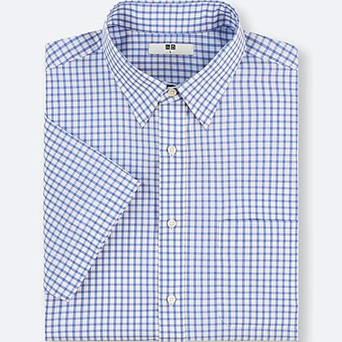MEN DRY EASY CARE CHECKED SHORT-SLEEVE SHIRT(ONLINE EXCLUSIVE), BLUE, medium