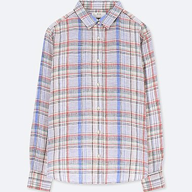 WOMEN LINEN CHECKED LONG SLEEVED SHIRT