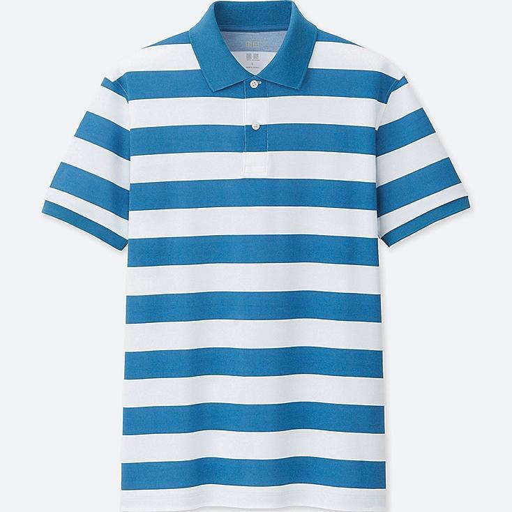 MEN DRY-EX PIQUE SHORT-SLEEVE POLO SHIRT, BLUE, large